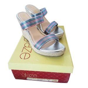 Glaze Kaila Silver Wedge Shoes